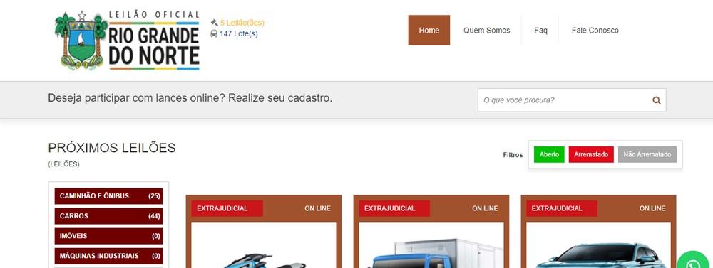 Polícia Civil alerta para golpe em leilão virtual que usa imagem do brasão do RN para atrair vítimas